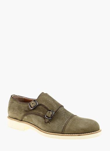 Divarese %100 Deri Çift Tokalı Klasik Ayakkabı Haki